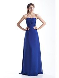 Sheath / Column Strapless Floor Length Chiffon Prom Formal Evening Dress with Draping