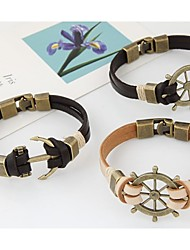 leather Charm BraceletsWomen's European Style Fashion Concise Metal Rudder Anchor Leather Bracelet Christmas Gifts