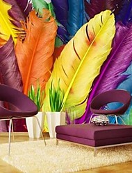 Modern 3D Shinny Leather Effect Large Mural Wallpaper Colourful Feather Art Wall Decor for Tv Sofa Background Wall