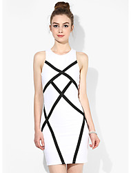 Women's Party/Cocktail Sexy / Street chic Black and White Dress,Striped Round Neck Above Knee Sleeveless White Rayon Summer