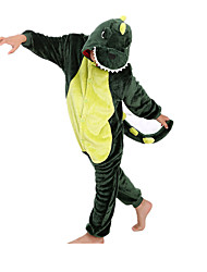 Kigurumi Pajamas Dinosaur Leotard/Onesie Festival/Holiday Animal Sleepwear Halloween Green Patchwork Flannel Kigurumi For KidHalloween