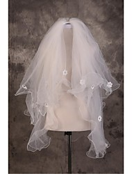 Wedding Veil Three-tier Elbow Veils Cut Edge / Pencil Edge Tulle Beige Beige