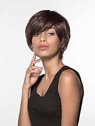 Stylish Short Straight Human Virgin Remy Hand Tied-Top Capless Hair Wigs
