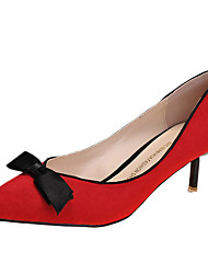 Damen High Heels Vlies Sommer Normal Schleife Stöckelabsatz Schwarz Silber Grau Rot