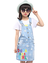 Girl's Cotton Summer Letters Star Denim Suspender Skirt