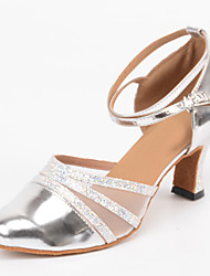 Customizable Women's Dance Shoes Latin / Samba Leather Stiletto Heel Silver