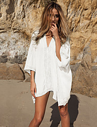 Women's Beach Simple Loose Dress,Solid V Neck Mini ¾ Sleeve White Cotton Summer