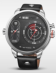 WEIDE® Men's Brand Luxury Military Double Time Black Leather Analog Quartz Watch Cool Watch Unique Watch