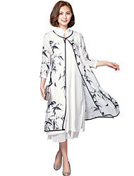 Women's Going out Vintage Loose / Shift Dress,Print Stand Midi ½ Length Sleeve White Rayon Summer