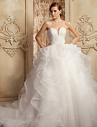 Ball Gown Wedding Dress Cathedral Train Sweetheart Organza / Satin with Appliques / Beading