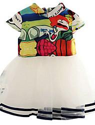 Girl's White Dress,Ruffle Polyester Summer / Spring