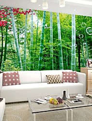 Contemporary 3D Shinny Leather Effect Large Mural Wallpaper Nature Bamboos And Flowers Art Wall Decor