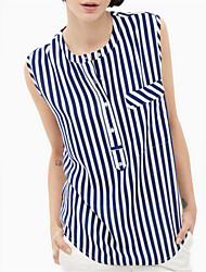 Women's Casual/Daily Street chic Summer Blouse,Striped Round Neck Sleeveless White Polyester Thin