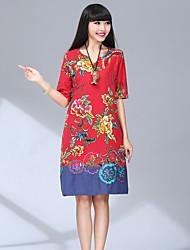 Women's Vintage Floral Loose Dress,V Neck Knee-length Polyester