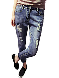 Women's Solid Blue Jeans Pants,Casual / Day