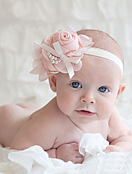 Children's Chiffon Rose Pearl Chain Bowknot Elastic Headband