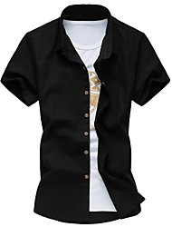 Men's Fashion Casual Short Sleeved  Solid Shirt  Plus Sizes