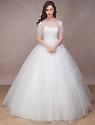Princess Wedding Dress Floor-length Scoop Lace / Organza with Flower / Lace / Ruffle