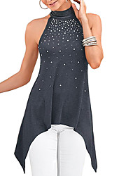 T-Shirt Rhinestone Decoration Turtleneck Sleeveless Asymmetric Hem Button Keyhole Back Blouse Top