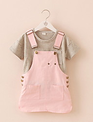 BK  2016 Stripes Girls T-shirt +Denim Strap Dress Suspender Skirt Two-piece Clothing Set