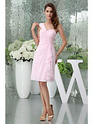 Knee-length Chiffon Bridesmaid Dress Sheath / Column One Shoulder with Side Draping
