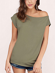 Women's Solid White / Black / Green T-shirt,Off Shoulder Short Sleeve