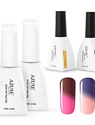 Azure  4 Pcs/Lot Soak-off Color Changing UV LED Gel Nail Polish Manicure Varnish(#04+#13+BASE +TOP)