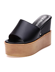 Women's Shoes Nappa Leather Platform Slippers Slippers Office & Career / Dress / Casual Black / White