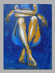 blauwe kleur dame siting sexy kunst aan de muur decor brancard klaar te hangen