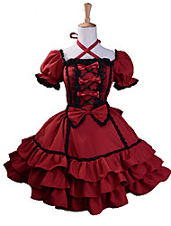 Short Sleeve Knielanger Wine Red Cotton Black Trim Gothic Lolita Kleid
