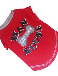 Cães Camiseta Vermelho Roupas para Cães Verão Osso Da Moda