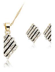 Feminino Colar / Brincos bijuterias Cristal Strass Rosa Folheado a Ouro Liga Colares Brincos Para Casamento Festa Diário Presentes de