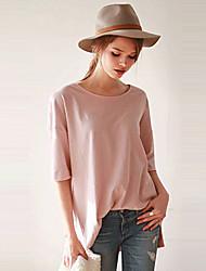 Damen Solide Retro / Einfach Lässig/Alltäglich T-shirt,Rundhalsausschnitt Sommer Kurzarm Rosa / Weiß Acryl / Polyester Undurchsichtig