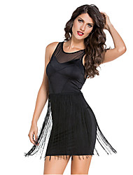Women's Black Mesh Accent Fringe Mini Dress