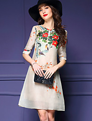 Women's Vintage Floral Sheath Dress,Round Neck Above Knee Silk