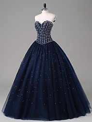 Formal Evening Dress-Dark Navy A-line Strapless Floor-length Satin / Tulle