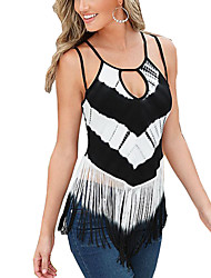 Women's Casual/Daily Sexy Summer Blouse,Print Strap Sleeveless Black Polyester Thin