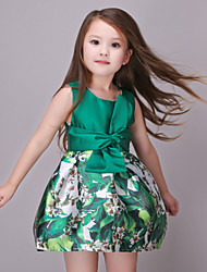 Girl's Floral Dress,Cotton / Polyester All Seasons Green