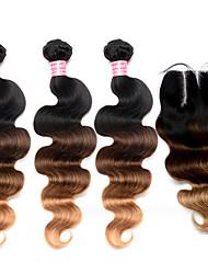 Trama do cabelo com Encerramento Cabelo Malaio Onda de Corpo 12 meses 4 Peças tece cabelo