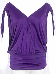 Women's Casual/Daily Sexy / Simple Summer Blouse,Solid V Neck Short Sleeve Green / Purple Polyester Thin