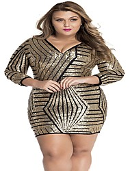 Women's  Long Sleeve Gold Sequin Dress
