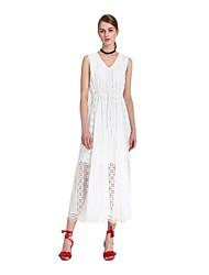 Goelia® Women's V Neck Sleeveless Translucent Lace Long Dress(beige)-165W4A14A
