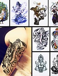 8pcs etiqueta do tatuagem de mulheres homens temporários impermeável corpo de volta a arte de transferência de água elefante Ganesha