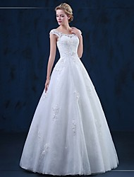 A-line Scoop Floor Length Tulle Wedding Dress with Appliques