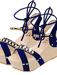 Zapatos de mujer-Plataforma-Punta Abierta / Plataforma / Anillo Frontal-Sandalias-Exterior / Vestido-Cuero-Negro / Azul / Beige