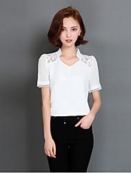 Women's Patchwork Pink / White / Green Set,V Neck Short Sleeve