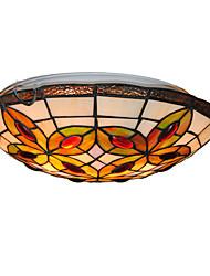 16inch Retro Tiffany Ceiling Lamp Glass Shade Flush Mount Living Room Dining Room light Fixture