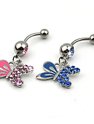 Charms jewelry Crystal Butterfly / Zircon / Silver Plated Navel & Bell Button Rings Wedding / Daily / Casual 1pc