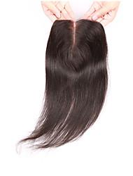 08inch-20inch Натуральный чёрный (#1В) Полностью ленточные / Изготовлено вручную Прямые Человеческие волосы закрытие Умеренно-коричневый