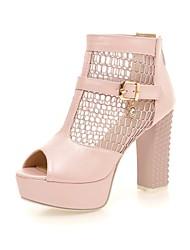 Women's Shoes Chunky Heel Peep Toe Mesh Pumps Shoes More Colors available